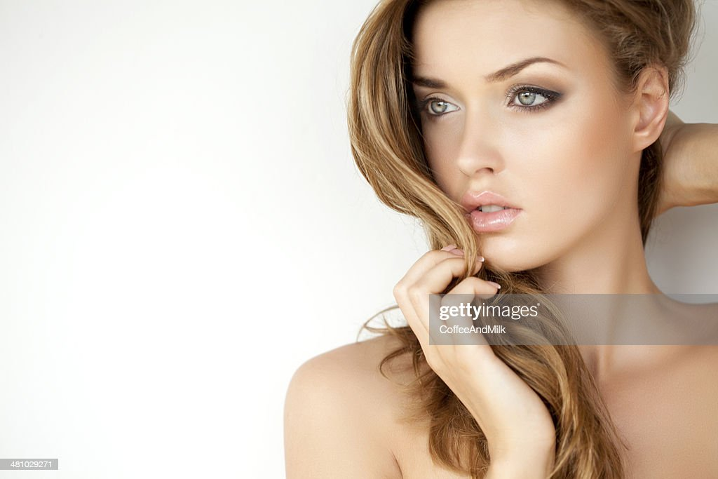 Portrait of a fresh and lovely woman with makeup : Stock Photo