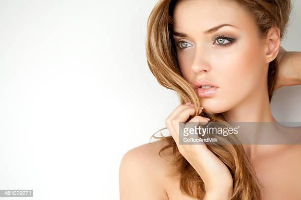 portrait of a fresh and lovely woman with makeup - beautiful women stock pictures, royalty-free photos & images