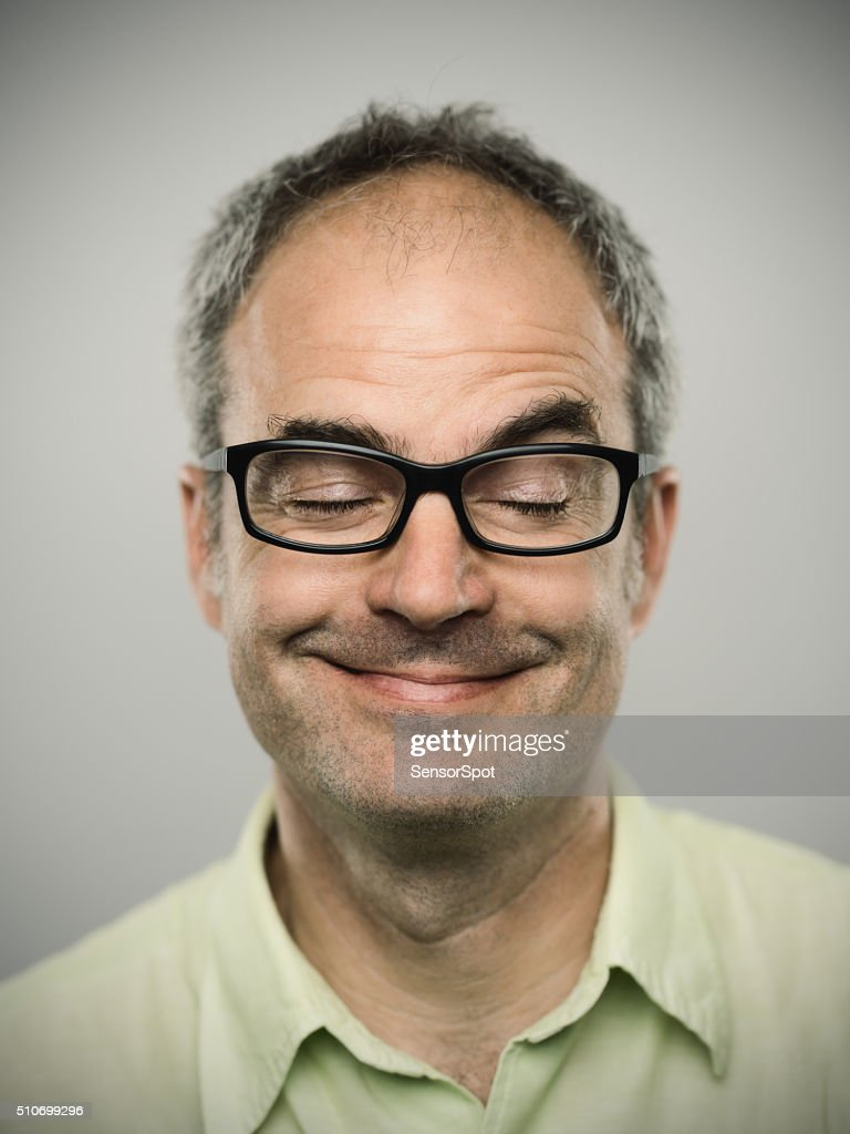 Portrait of a funny caucasian real man : Stock Photo
