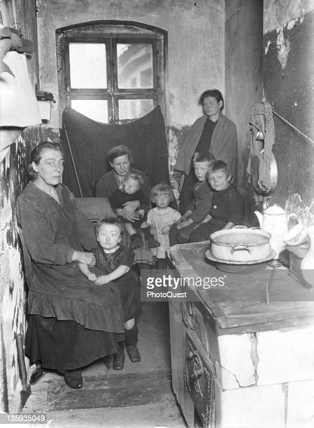 Portrait of a German family suffering under inflation destruction and housing shortages between the World Wars Germany early to mid twentieth century