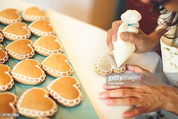 portrait of a gingerbread maker - decoration stock pictures, royalty-free photos & images