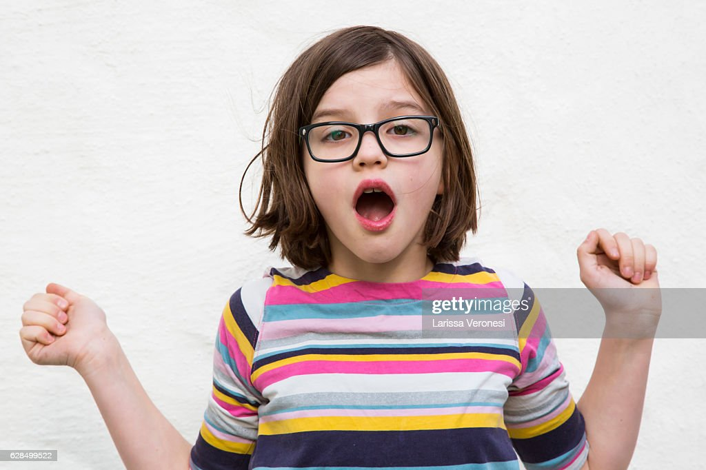 portrait of a girl being surprised : Stock-Foto