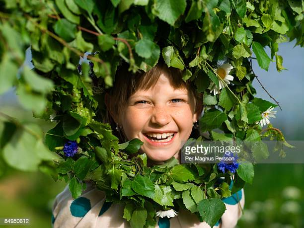 portrait of a girl celebrating midsummer sweden. - midsummer sweden stock pictures, royalty-free photos & images