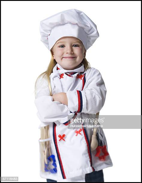 Portrait of a girl dressed as a chef