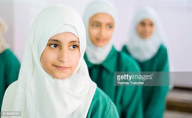 Portrait of a girl during class in the Ajnadeen girls school on October 05 2016 in Irbid Jordan
