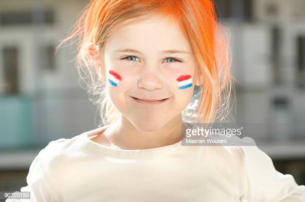 portrait of a girl during queens day in holland - king's day netherlands stock pictures, royalty-free photos & images