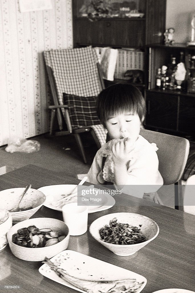 Portrait of a girl eating lunch : Stock Photo