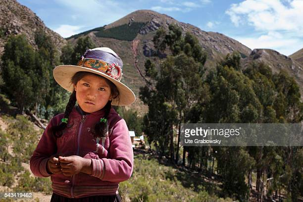 Portrait of a girl in the Andes of Bolivia on April 17 2016 in Sacaca Bolivia