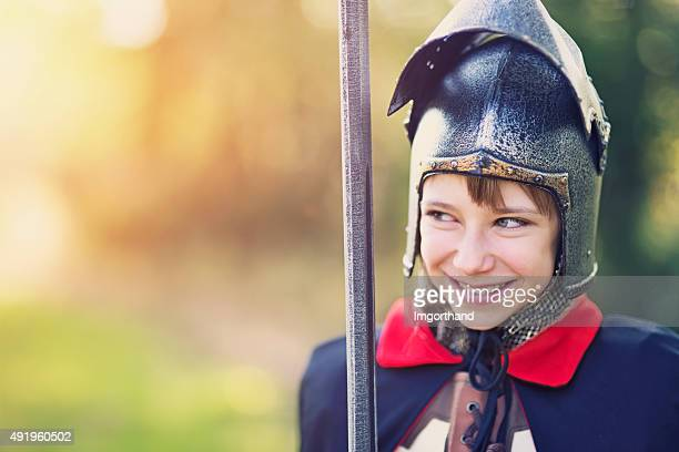 portrait of a girl knight - medieval stock pictures, royalty-free photos & images