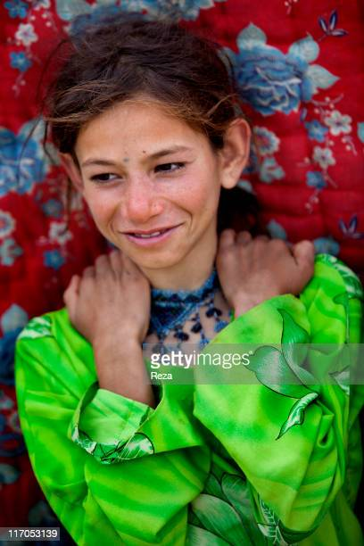 Portrait of a girl living in the camp May 9 2009 in Hellmand Province Afghanistan In the North of Kabul the Charahi Qambar camp shelters refugees...