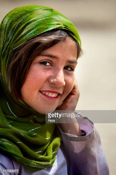 Portrait of a girl living in the camp May 9 2009 in Helmand Province Afghanistan In the North of Kabul the Charahi Qambar camp shelters refugees from...