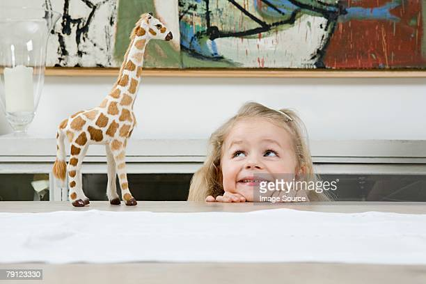 portrait of a girl - white giraffe stockfoto's en -beelden