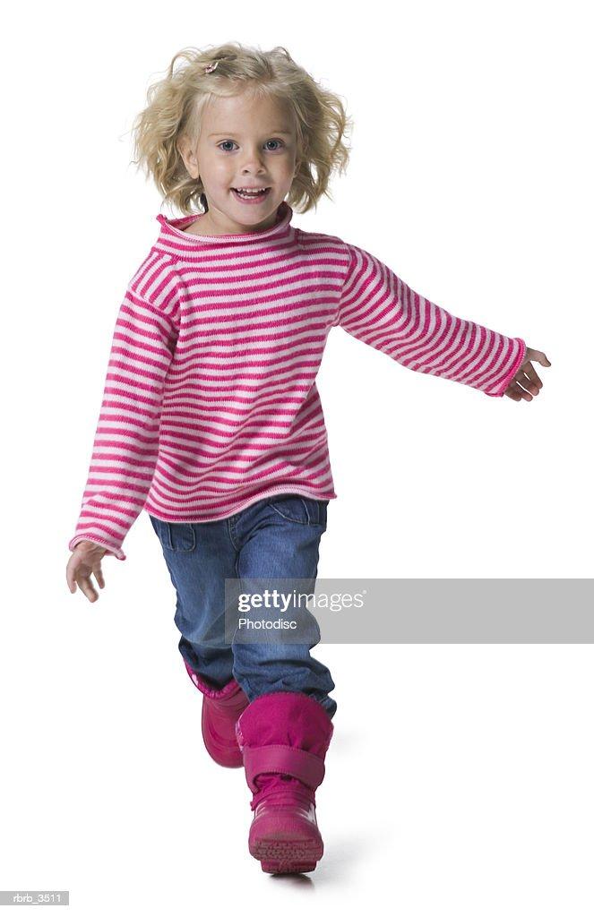 Portrait of a girl running : Foto de stock