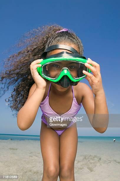 Portrait of a girl wearing a scuba mask