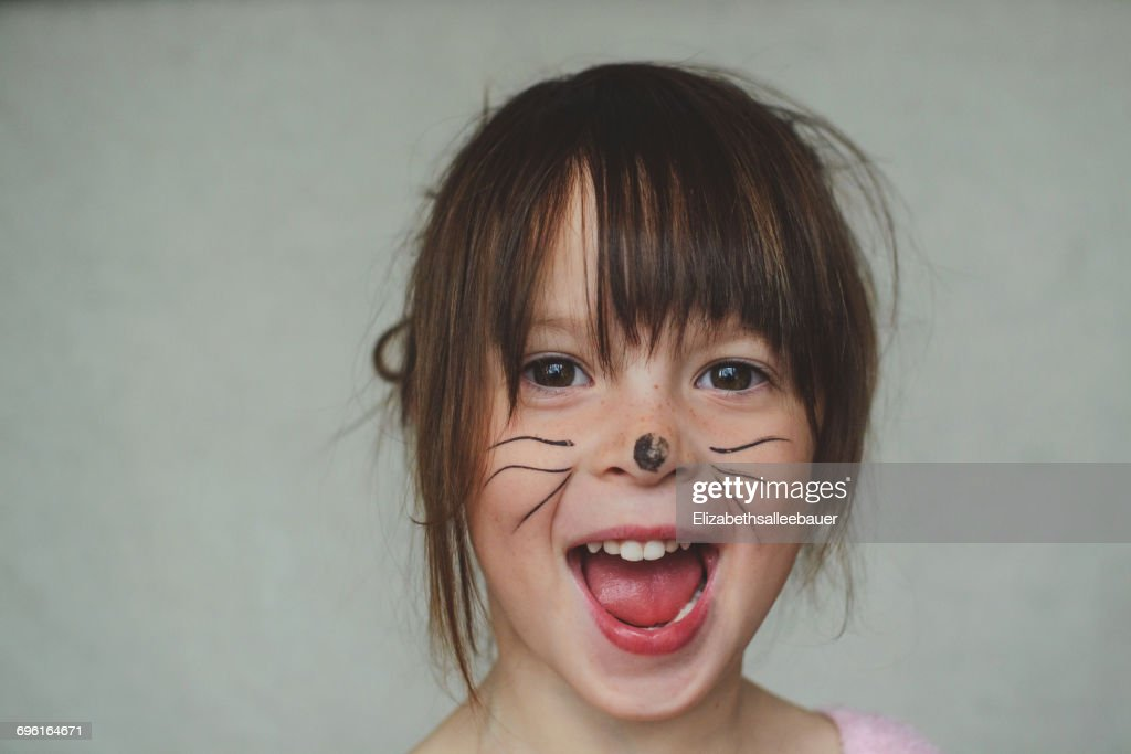Portrait Of A Girl With Bunny Face Paint : Stock Photo