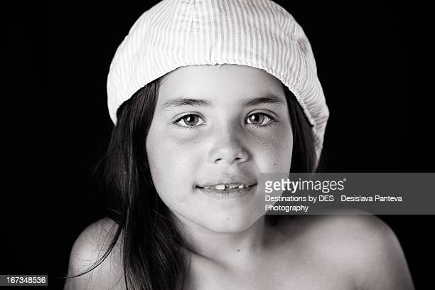 A portrait of a girl with hat