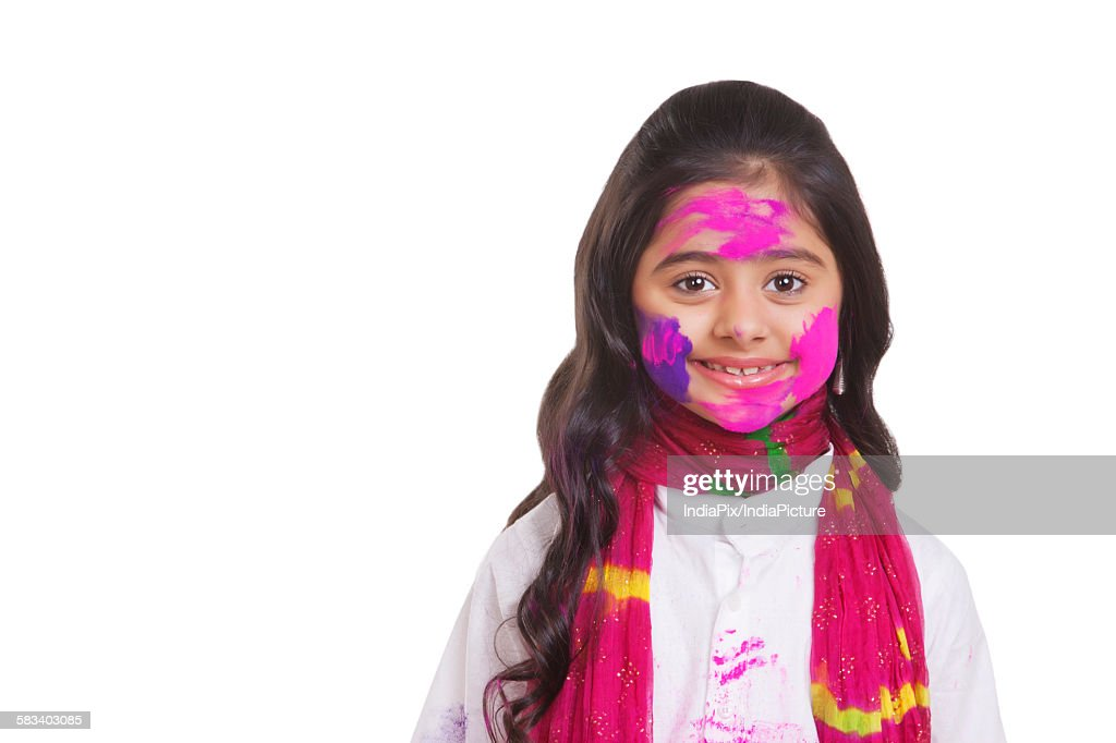 Portrait of a girl with holi colour : Stock Photo