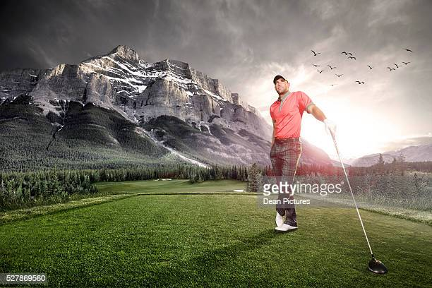 portrait of a golfer at sunset - golfer stock pictures, royalty-free photos & images