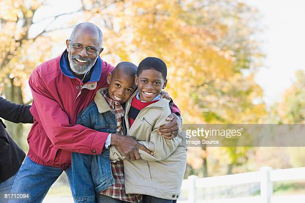 Portrait of a grandfather and grandsons