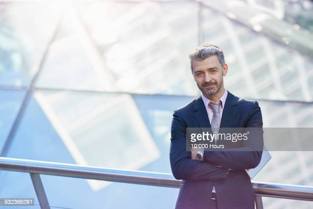 Portrait of a grey haired businessman in a suit