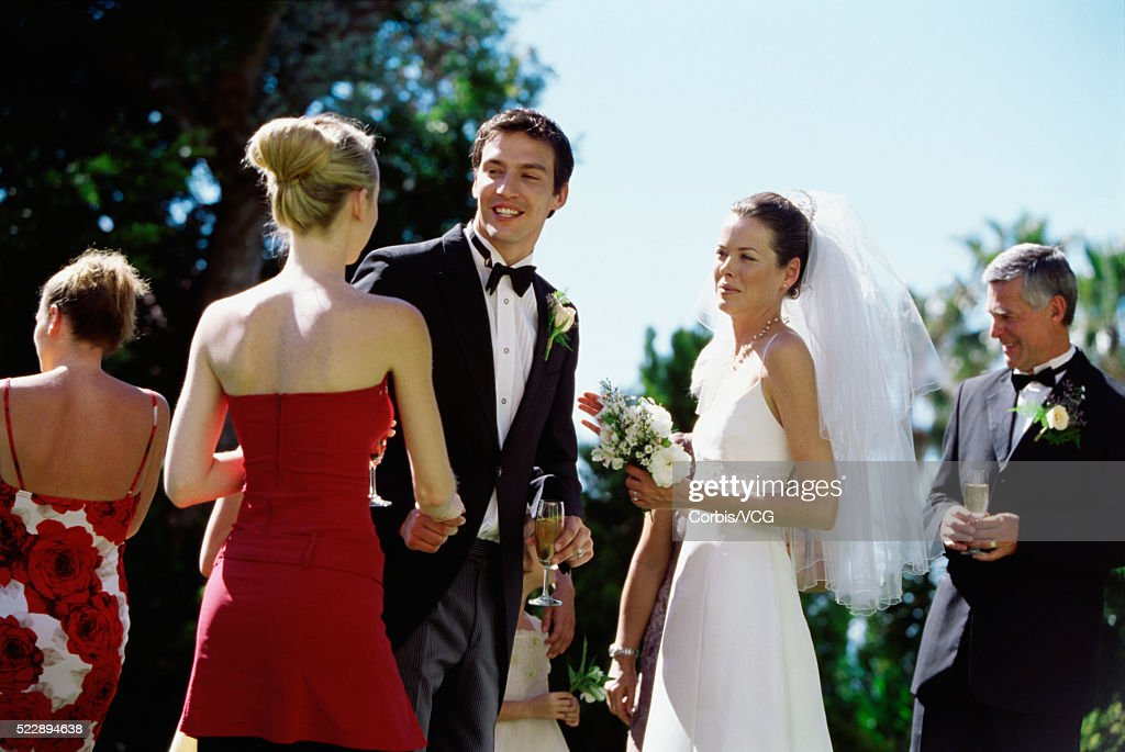 Portrait Of A Groom And Bride Shaking Hands In A Receiving Line At A
