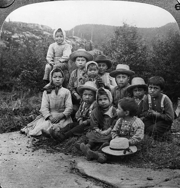 Portrait of a group of children from either the Chippewa...