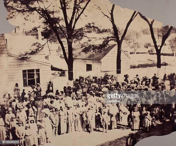 Portrait of a group of freed slaves ca 18631865