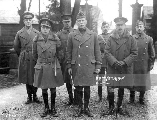 Portrait of a group of military officers, among them Edward, Prince of Wales , American Major General Henry Tureman Allen , and then-Colonel George...