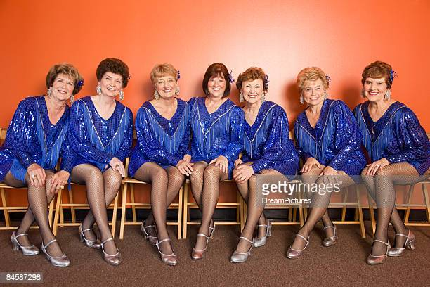 portrait of a group of senior women tap dancers - old women in pantyhose stock pictures, royalty-free photos & images