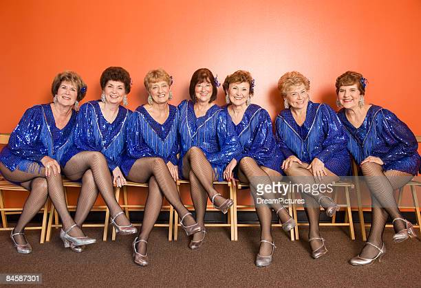 portrait of a group of senior women tap dancers - old women in pantyhose stock photos and pictures