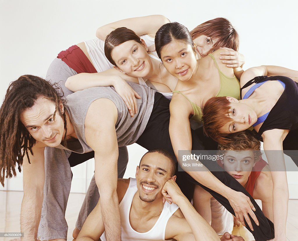 Portrait of a Group of Seven Ballet Dancers : Stock Photo