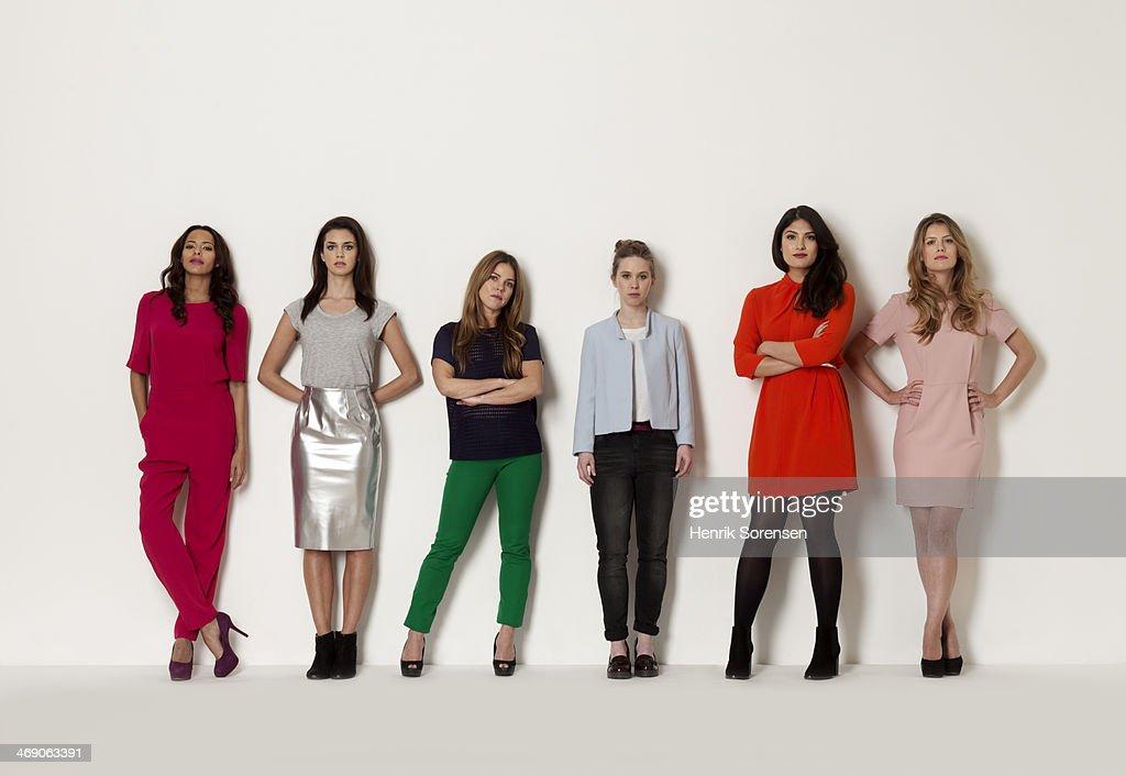 Portrait of a group of six women : Foto de stock