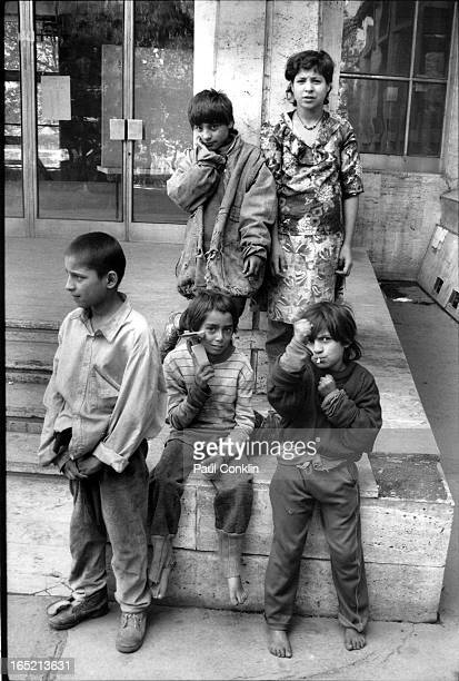 Portrait of a group of street children Bucharest Romania 1980s