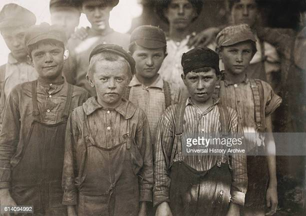 Portrait of a Group of Very Young Boys Working at Avondale Textile Mill Birmingham Alabama USA circa 1910