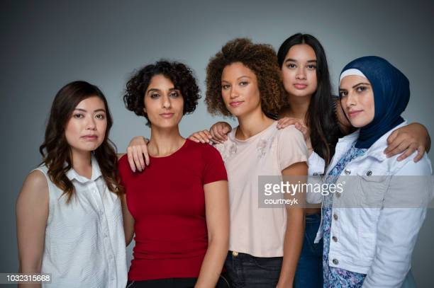 portrait of a group of women in the studio. - five people stock pictures, royalty-free photos & images