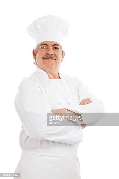 Porträt einer glücklich cook in Köchen Hut und uniform
