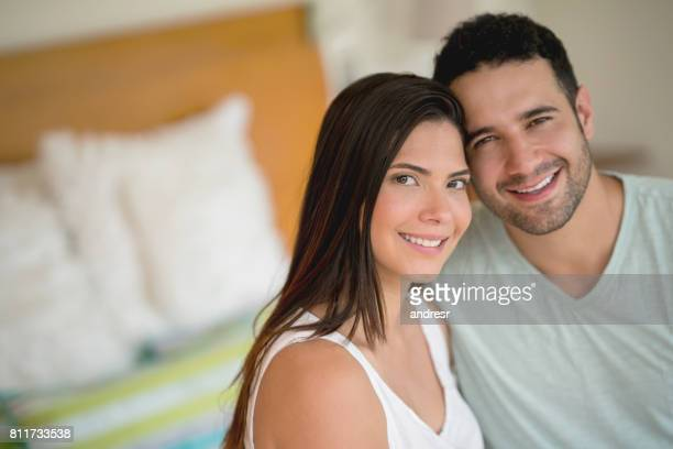 Portrait of a happy couple at a hotel on a romantic getaway