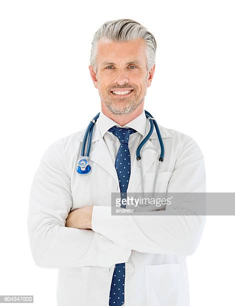 portrait of a happy doctor - handsome 50 year old men stock photos and pictures