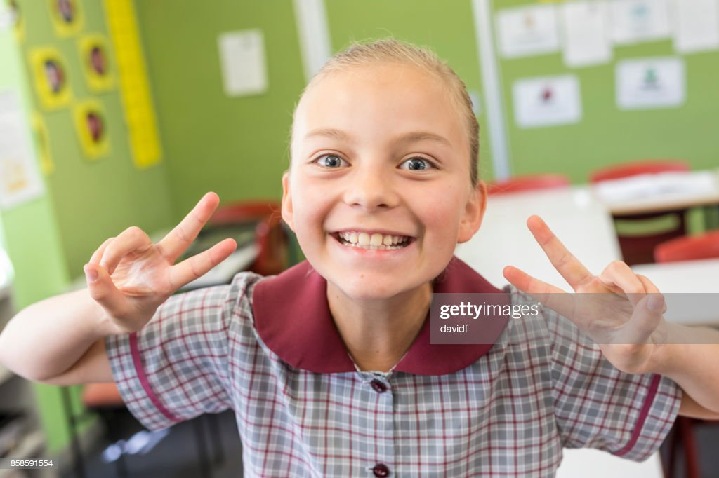 Porträt eines glücklichen Mädchen Grundschule Studenten : Stock-Foto