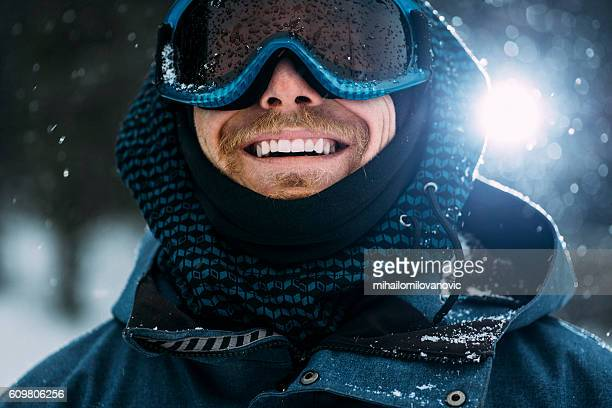 portrait of a happy snowboarder - boarding stock pictures, royalty-free photos & images