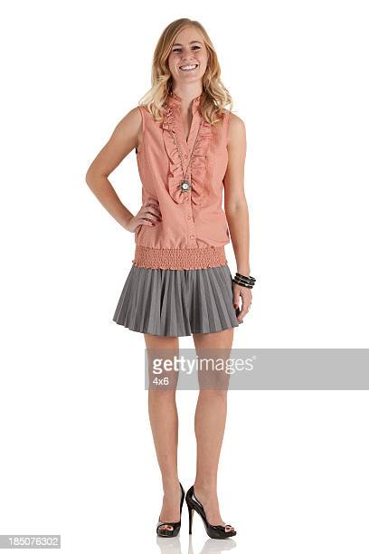portrait of a happy woman - white skirt stock pictures, royalty-free photos & images
