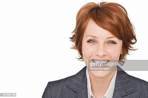 Porträt von eine glückliche junge Geschäftsfrau