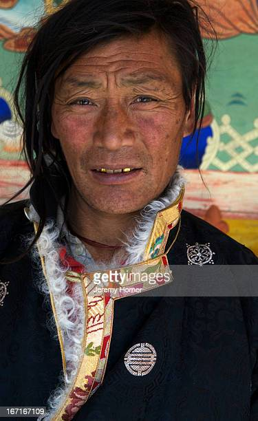 LABRANG XIAHE GANSU CHINA Portrait of a herder from Amdo at Labrang Monastery during Tibetan New Year celebrations Labrang Monastery is one of six...