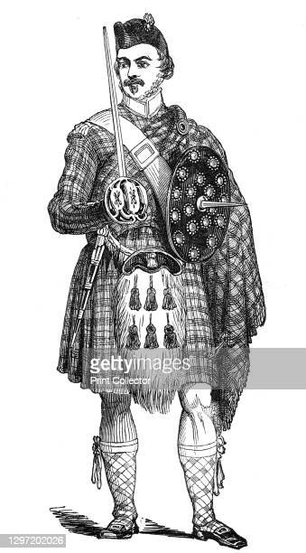 Portrait of a highland guardsman, at Blair Athol, 1844. Soldier guarding Queen Victoria during her stay at Blair Castle in Scotland: '...one of her...