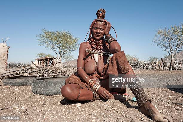 Portrait of a himba woman sitting on the floor