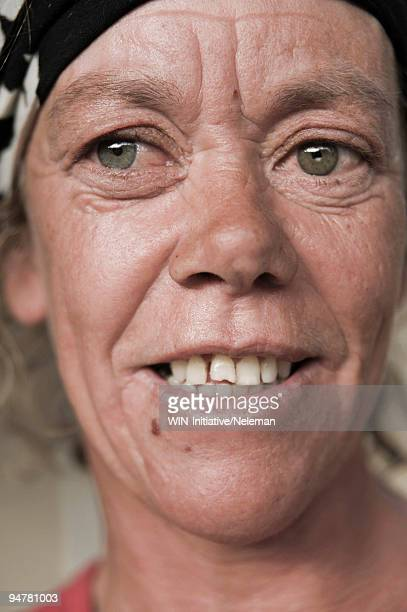 Portrait of a homeless woman, Cape Town, Western Cape Province, South Africa