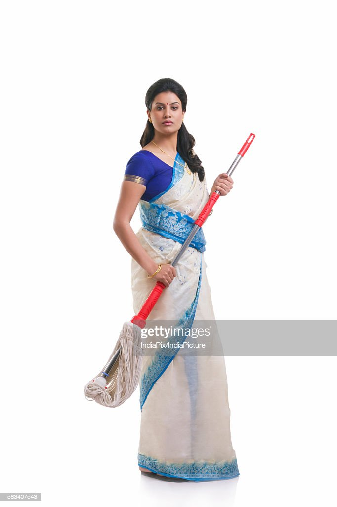 Portrait of a housewife with a mop : Stock Photo