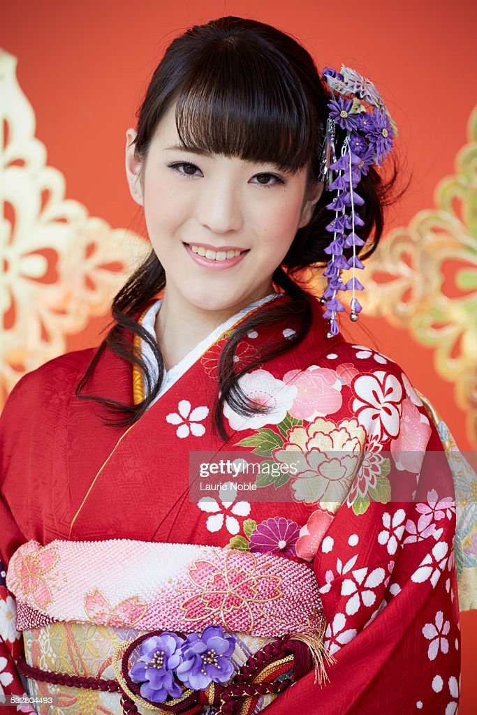 Portrait Of A Japanese Lady Wearing A Kimono High-Res ...