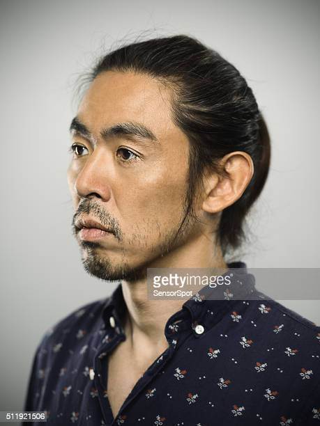 portrait of a japanese man looking at camera - sideburn stock pictures, royalty-free photos & images
