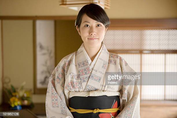 Portrait of a Japanese woman wearing kimono